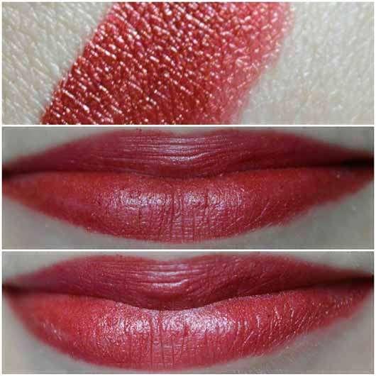 alverde Metallic Colors Lippenstift, Farbe: 39 Crushed Velvet - Collage Swatch und auf den Lippen