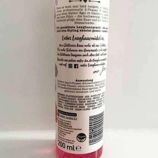 LANGHAARMÄDCHEN Hitzeschutzspray - Flasche Rückseite
