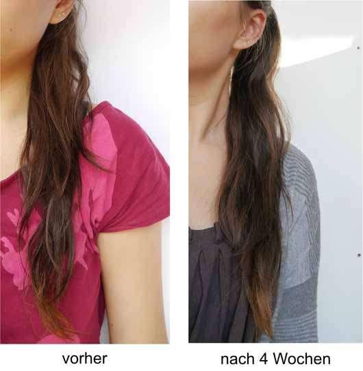 Luvos Shampoo (mit ultrafeiner Heilerde) - Haare vor und nach der Anwendung