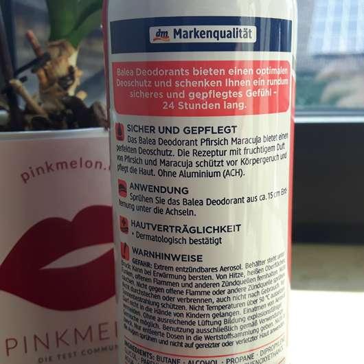 Balea Deodorant Pfirsich & Maracuja - Deoflasche Rückseite