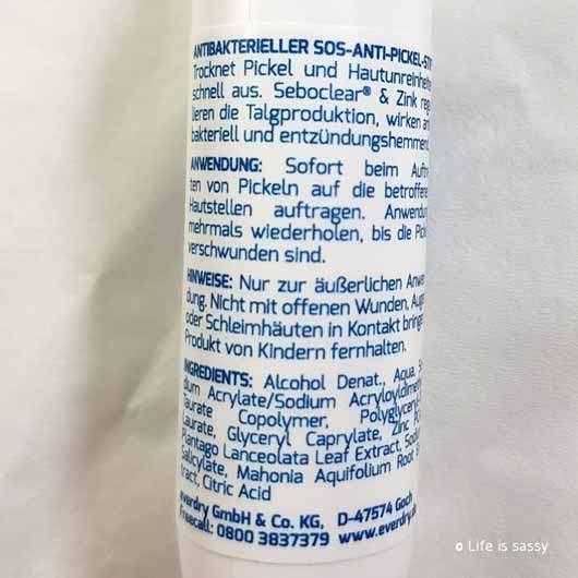 everdry Anti-Pickel-Stift - Flasche Rückseite
