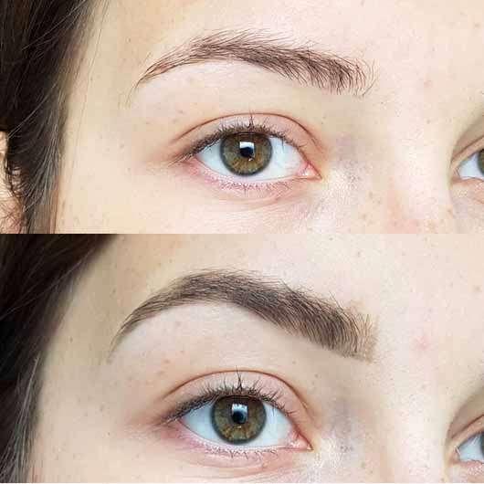alverde Augenbrauenpomade, Farbe: ash taupe - Brauen ohne und mit Produkt