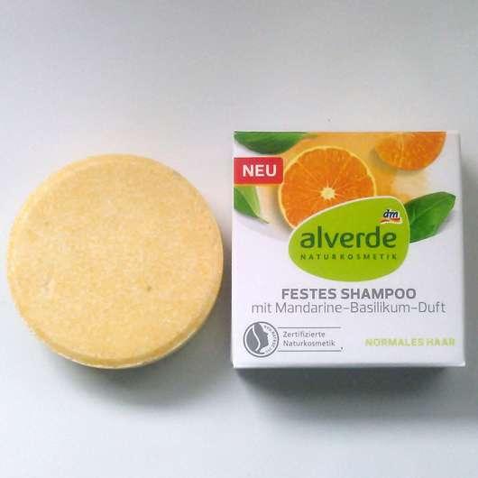 """alverde festes Shampoo """"Mandarine-Basilikum"""" - Verpackung und Seifenstück"""
