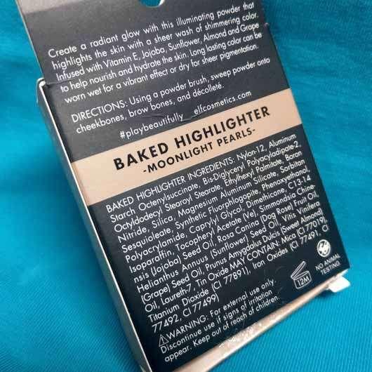 e.l.f. Baked Highlighter, Farbe: Moonlight Pearls - Verpackung Rückseite