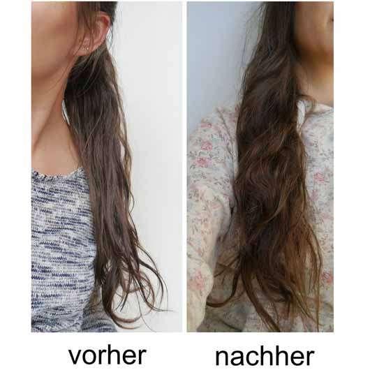 LANGHAARMÄDCHEN Pretty Brown Conditioner - Haare vor und nach der Testphase