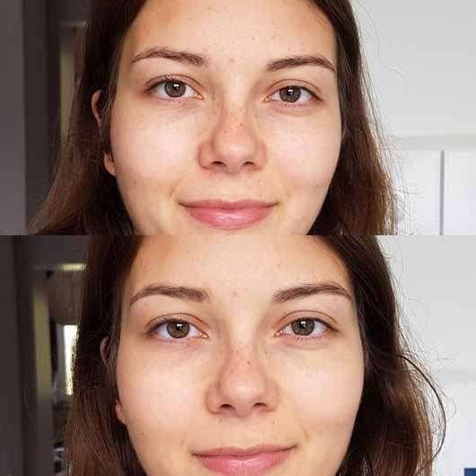 Sleek MakeUP Mattifying Primer - Primer auf der rechten Gesichtshälfte, oben ohne Makeup, unten mit Makeup