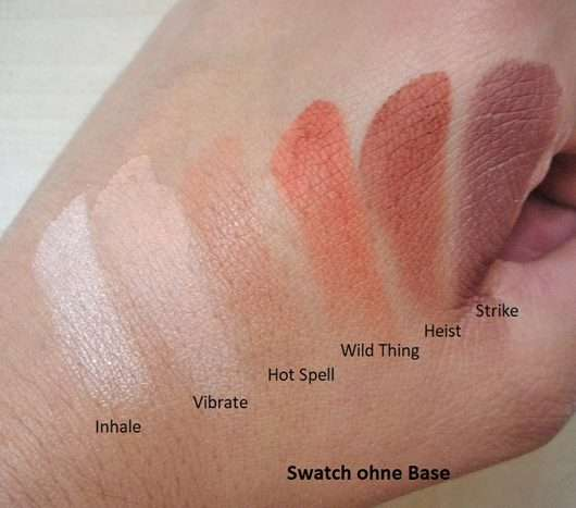 Swatches ohne Base - Urban Decay Naked Petite Heat Palette