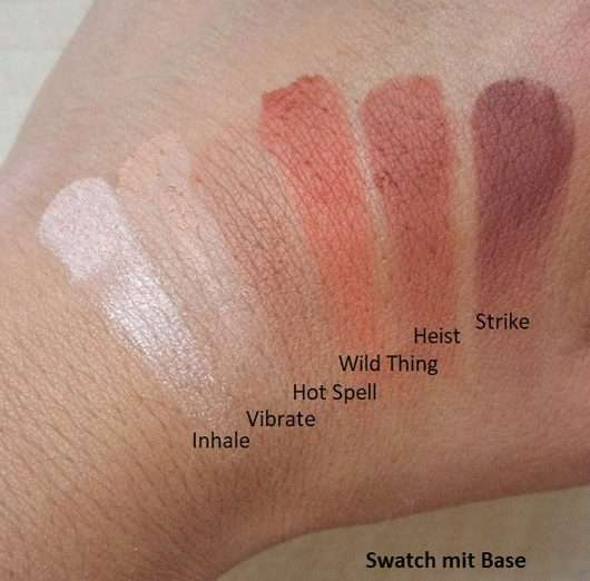 Swatches mit Base - Urban Decay Naked Petite Heat Palette