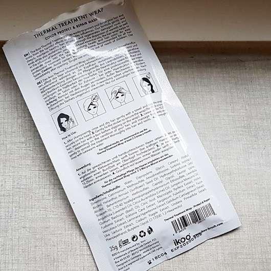 ikoo Thermal Treatment Wrap (Haartuchmaske) - Sachet Rückseite