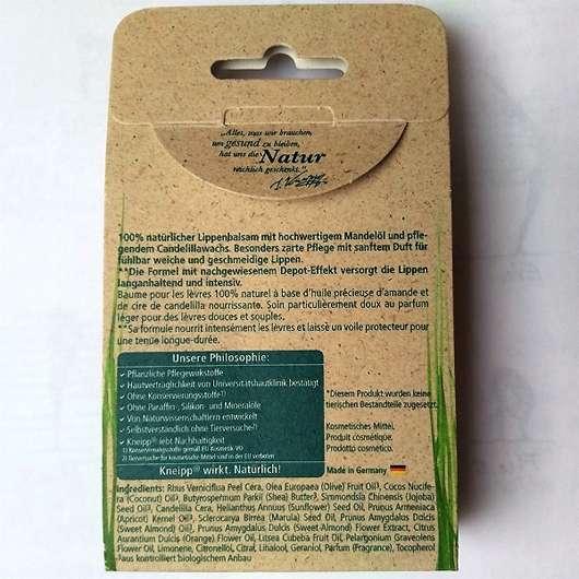Kneipp Lippenpflege Hautzart - Verpackung Rückseite
