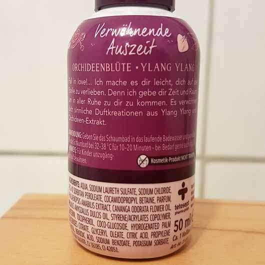 t: by tetesept Verwöhnende Auszeit Creme-Schaumbad - Flasche Rückseite