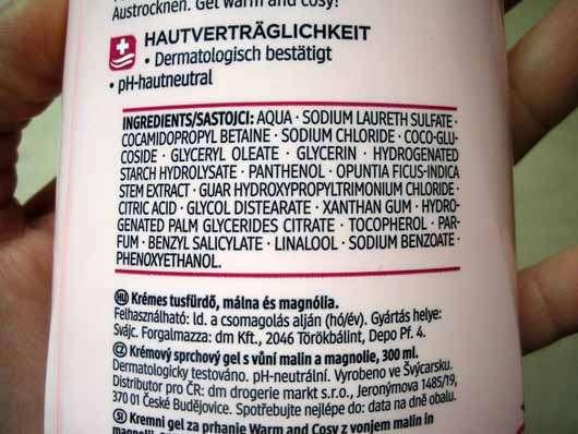 Balea Cremedusche Warm And Cosy (LE) - Inhaltsstoffe