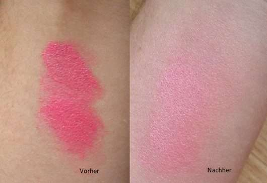 Swatch - Blush vor/nach dem Verblenden mit dem Make Up Factory Multitalent Face Brush
