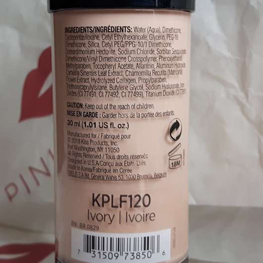 Verpackungsrückseite - KISS Professional New York Pro Touch Liquid Foundation, Farbe: 120 Ivory