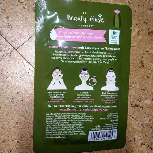 "The Beauty Mask Company Motiv-Tuchmaske ""Lama"" - Rückseite"