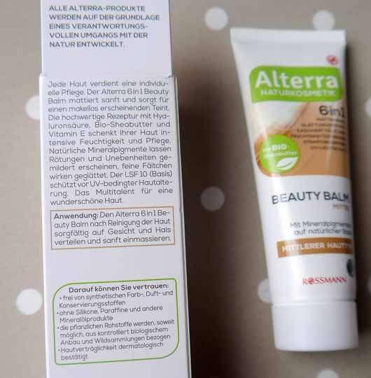 Alterra 6in1 Beauty Balm, Farbe: Mittel - Details auf der Verpackung
