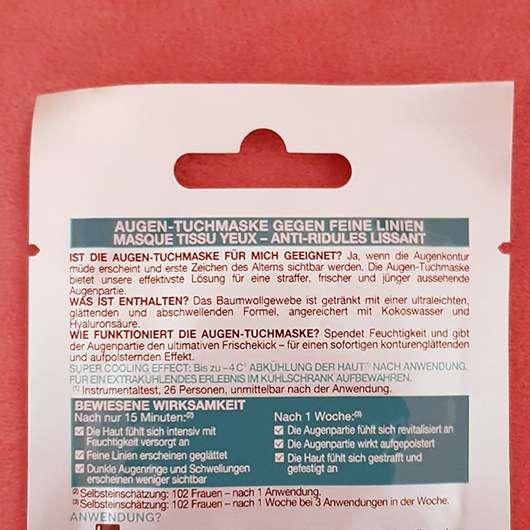 Garnier SkinActive Hydra Bomb Augen-Tuchmaske Kokoswasser & Hyaluronsäure - Sachet Rückseite