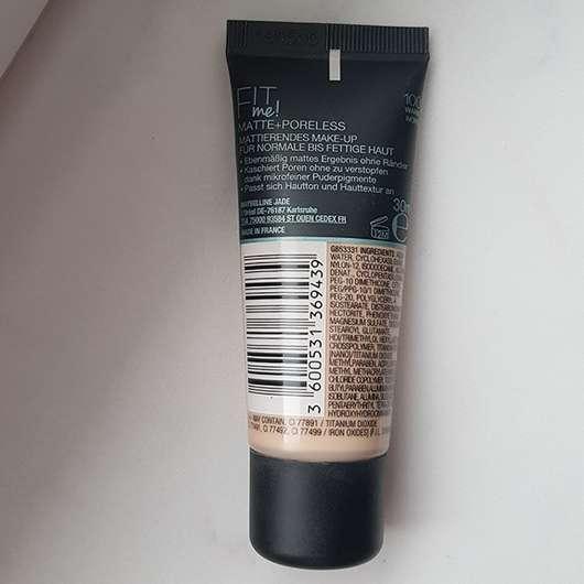Maybelline Fit Me! Matte + Poreless Mattierendes Make-up, Farbe: 100 Warm Ivory - Rückseite