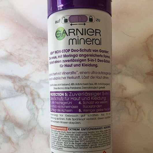 Garnier mineral Protection 5 Anti-Transpirant Spray - Rückseite