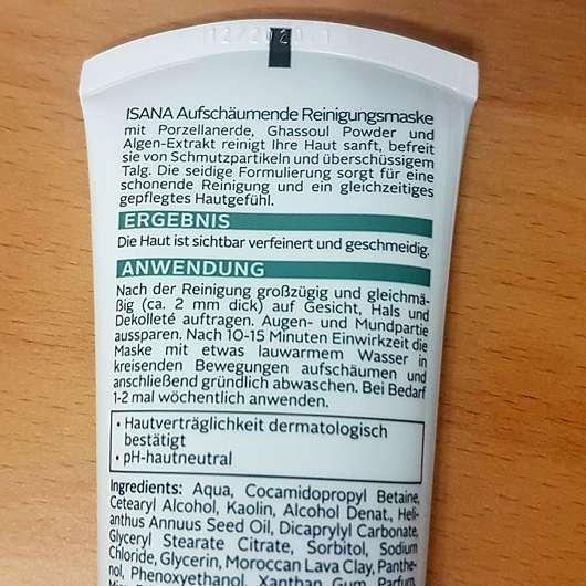 ISANA Tonerde Aufschäumende Reinigungsmaske - Rückseite Tube