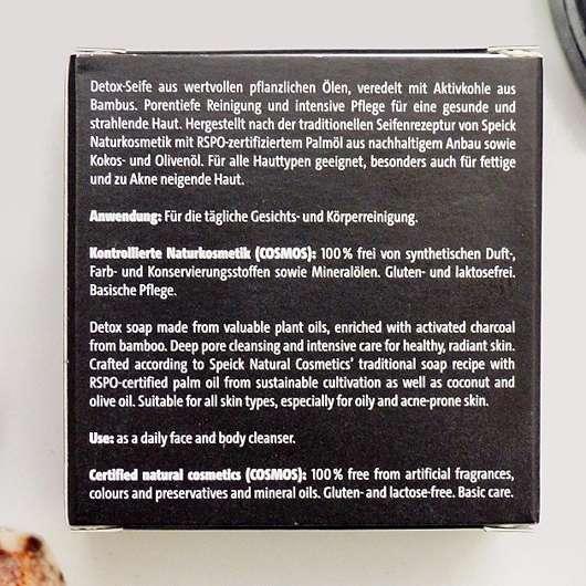 Made by Speick Black Soap - Beschreibung auf der Verpackung