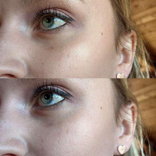 GOSH Lumidrops, Farbe: 002 Vanilla - Unten Haut ohne Highlighter, oben Haut mit Highlighter (natürlich aufgetragen)