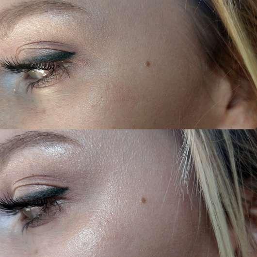 GOSH Lumidrops, Farbe: 002 Vanilla - Oben Haut mit Foundation und ohne Highlighter, unten Haut mit Foundation und mit Highlighter