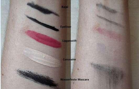 Natracare cleansing make-up removal - Reinigungssimulation anhand von Swatches