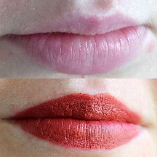 Shiseido VisionAiry Gel Lipstick, Farbe: 223 Shizuka Red - Lippen ohne und mit Produkt