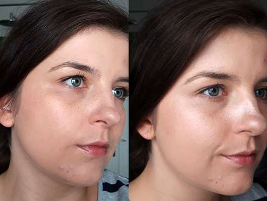 BAIMS Natural Makeup Translucent Pressed Powder, Farbe: 10 Crystal - Links: Make-up pur aufgetragen, Rechts: mit BAIMS Puder als Fixierung im gesamten Gesicht
