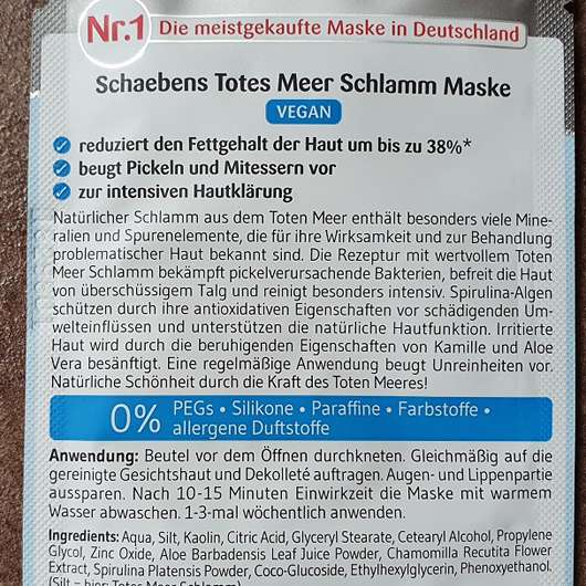 Schaebens Totes Meer Schlamm Maske - Details Rückseite