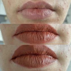 Lippen ohne Produkte, mit Lipliner und mit Lippenstift getoppt