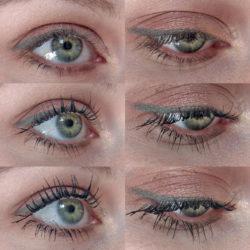 Oben: Wimpern ohne Mascara; Mitte: Wimpern mit einer Schicht Mascara; Unten: Wimpern mit drei Schichten Mascara