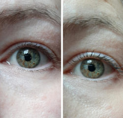 linkes Auge ohne/mit trend IT UP 10in1 Mascara