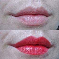 Lippen vor und nach dem Auftrag